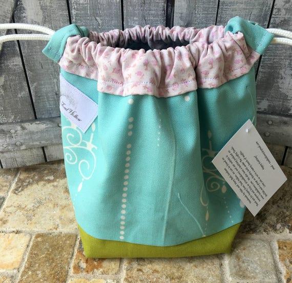 Knitting Project Bag-Robins Egg Blue & White,Knitting tote bag,Toad Hollow Bag,Crochet Project,Sock,yarn keeper,drawstring bag,mini tote bag