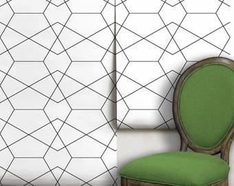 Modern Geometric Removable Peel 'n Stick Wallpaper Custom Sizes and Colors