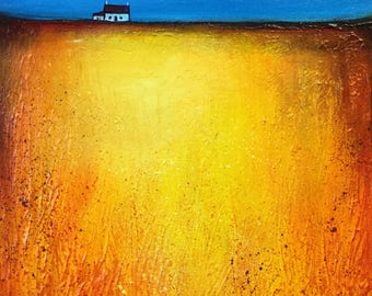 Golden field, Original textured Acrylic landscape by Jane Palmer
