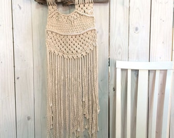 NEW PRICE! Large Neutral Macramé Wall Hanging on Driftwood, Large Contemporary Macramé Wall Hanging, Large Macramé Wall Hanging