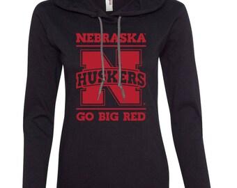 Women's Nebraska Huskers GO BIG RED Long Sleeve Hooded Tee Shirt Hoody