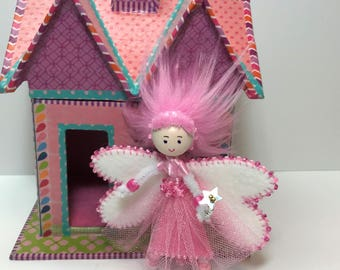 Little Fairy Doll, Pink Fairy Doll for Little Girl, Little Doll, Travel Doll Toy, Miniature Fairy Doll, Removable Skirt and Wings, Fairies