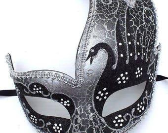 Black and Silver Swan Lake Masquerade Mask