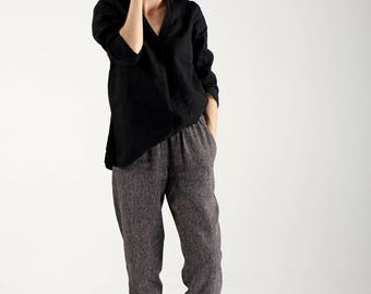 Black Linen Pants With Wool / Casual Black Linen Trousers With Wool / Casual Loose Pants / Custom Pants for Women / Loose Fitting Pants