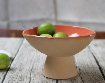 Pedestal  or Fruit Bowl, Coral and Natural Buff Colour Handmade