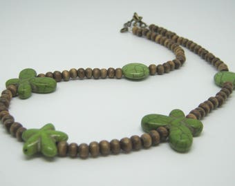 Woodland Butterflies Necklace, Wooden Beads, Nature Jewellery, Green Brown Wood Beads