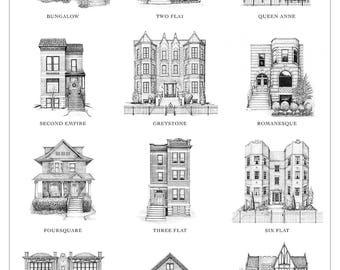 Chicago Home Styles Print, Chicago Wall Art