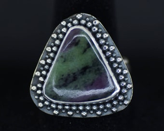 Ruby in Zoisite (Anyolite) with Granulation & Sterling Silver Ring US Size 7