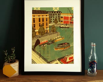 Bristol Arnolfini Harbour Illustration Poster A3