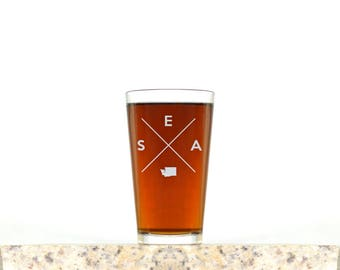 Seattle Pint Glass | Seattle Glass - Beer Glass - Pint Glass - Beer Glasses - Pint Glasses - Beer Mug - Seattle - Gift for Dad