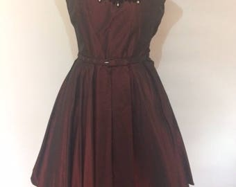 Vintage 50s by Blanes dress deep burgandy satin with velvet pattern and rhinestone pearl size small