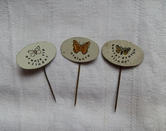 Three 1960's Oval Metal Butterfly Stick Pins Lapel Badges: Orange Tip, Atalanta, Baster Dsatijn