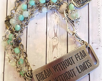 Silver Connector Bracelet, Rosary Beads, Vintage Silver Chains, Assemblage Bracelet, Vintage Charms, Repurposed and Upcycled Jewelry