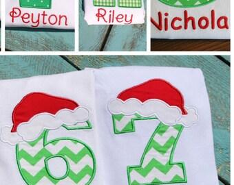 Personalized Santa Hat Shirt, Santa Birthday, Christmas Santa Hat Top, Personalized Number Shirt, Monogrammed Letter and Number shirts