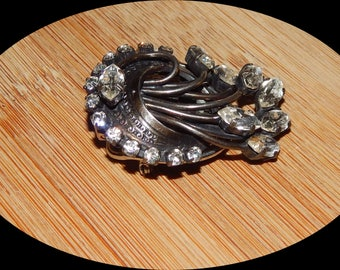 Vintage Silvertone and Crystal Brooch or Lapel Clip