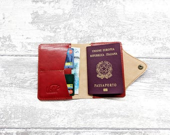 Passport Cover - Leather Travel Passport DEEP RED - Personalized Wallet - Passport Holder - Travel wallet - Leather Passport case