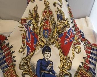 Large Vintage Crepe Scarf Queen Elizabeth II in Military Uniform Coronation 1953