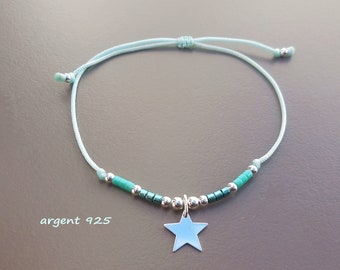 minimalist bracelet Silver Star and pearls Japanese turquoise cord