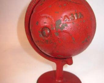 Antique Red World Cast Iron Globe Piggy Bank