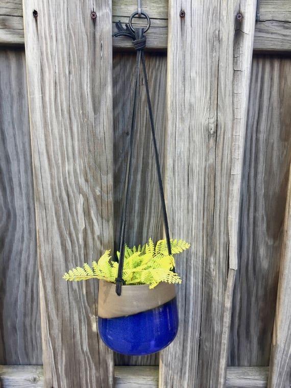 Large Ceramic planter-Blue- hanging flower pot -herb planter- NEW!