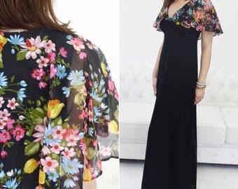 Floral Capelet, Cape Dress, Capelet Dress, Chiffon Capelet, Floral Chiffon Cape, Chiffon Capelet Dress, Capelet, 70s Floral Dress, 70s Maxi