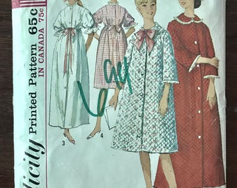 Simplicity 5926 - 1960s Button Front Robe in Knee or Maxi Length - Size 14 Bust 34 OR Size 10 Bust 31