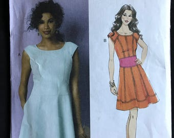 Butterick B6053 - Maggy London Fitted and Flared Knee Length Dress with Contrast Midriff Option - Size 16 18 20 22 24