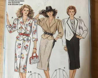 Burda 6399 - 1980s era Wrap Fround Jacket and Straight Skirt with Side or Front Slit - Size 8 10 12 14 16 18 20