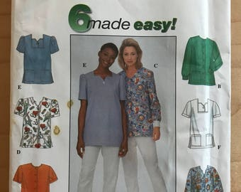 Simplicity 8351 - Easy to Sew Pullover or Button Front Top with Side Slits and Patch Pockets - Size 8 10 12