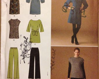Simplicity 2814 Top, Tunic or Dress with Waist Darts and Collar Options and Pull on Pants - Size 8 10 12 14