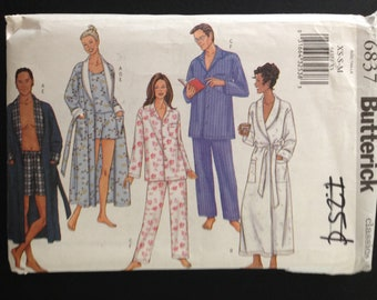 Butterick 6837 Classic Men's or Women's Sleepwear - Shorts, Pants, Top and Shawl Collar Belted Robe - Size XS S M