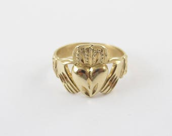 14k Yellow Gold Irish Claddagh Ring - Irish Love Loyalty Ring