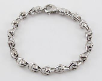 14k White Gold Men's ball link Bracelet 8 3/4 Inches 20 grams