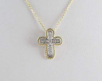 14K Yellow Gold Children's Diamond Cross Pendant Necklace 16 Inches