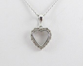 "14k White Gold Diamond Heart Pendant Necklace 16"" 0.35"
