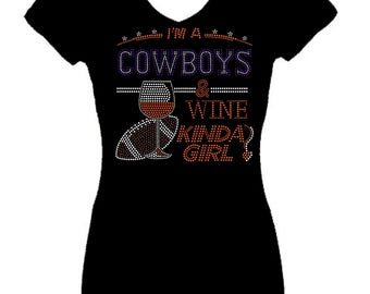 Cowboys and Wine Football Rhinestone Sports  Bling V Neck Short  Sleeve Womens Tee Shirt