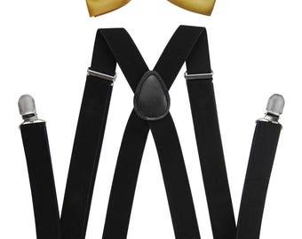 Axy Men's Black braces + Golde fly-wedding-Groomsmen-photo shoot-Birthday party