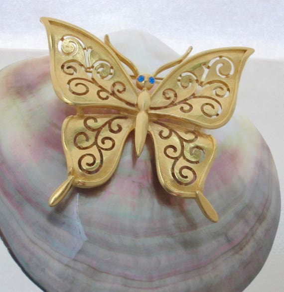 Trifari signed scroll swirl work Butterfly pin ~lovely, mid-century, vintage costume jewelry