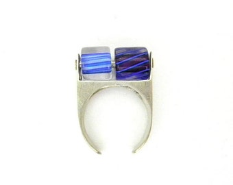 Kinetic Blue Glass and Silver Ring