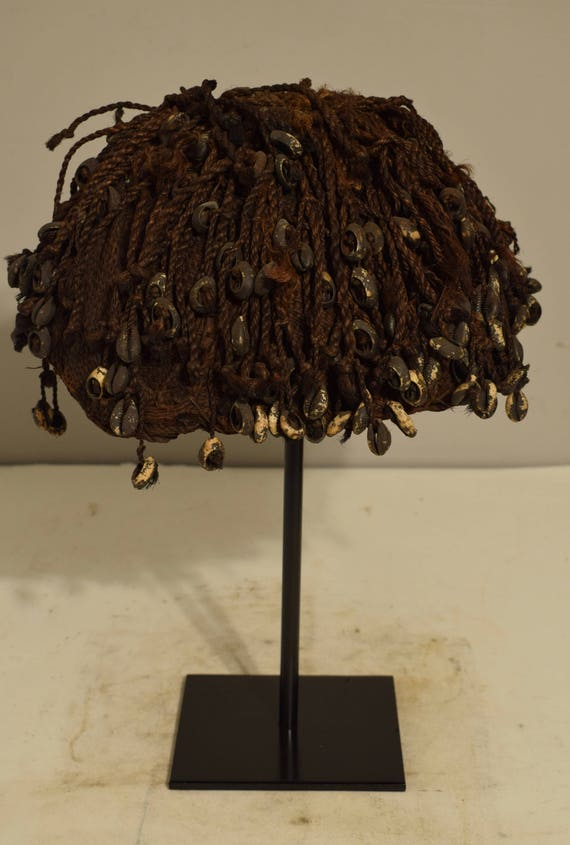 African Hunters Hat Bamum Tribe Cameroon Cowrie Shells Mens Fiber Hunter Hat