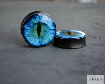 Dragon eye image ear plugs wooden tunnels 4,5,6,8,10,12,14,16,18,20,22,25-60mm;6g,4g,2g,0g,00g;1/4,5/16,3/8,1/2,9/16,5/8,3/4,7/8,1 1/4,1""