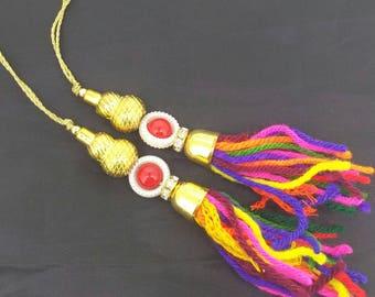Fancy Saree Blouse Latkan Indian Tassel Sewing Craft Fashion accessory 1 pair.