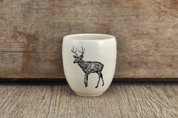 Handmade Porcelain coffee tumbler with white-tailed drawing Canadian Wildlife collection