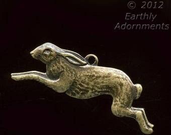 Oxidized brass bunny charm. 10x25mm, Pkg of 2. b9-0462(e)