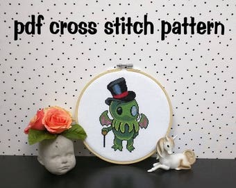 Gentleman Cthulhu Cross Stitch Pattern, Dapper Sir Cthulhu Embroidery, Geeky Needlepoint, Funny Tentacled Hoop Art - PDF, Instant Download