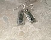 Sterling silver earrings, rustic textured metal, green serpentine earrings