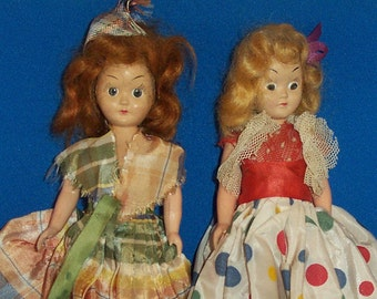 "Vintage 7"" Doll Pair Molded Hard Plastic Straight Leg Open Close Eyes Painted Lashes  40's- 50's"