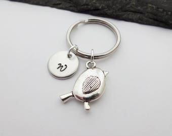 Bird Keyring, Hand Stamped Keyring, Robin Keyring, Initial Keychain, Bird Keychain, Robin Gifts, Charm Keyring, Personalised, Bird Gift