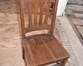 Vintage Antique Craftsman Mission Oak dining Side Chair Arts and Crafts