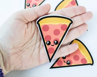 Pizza Food Sticker Slice Kawaii Cute Stickers Unique Culinary Delicious Yummy Italian Pepperoni Sauce Red Orange Yellow Bread Stationary